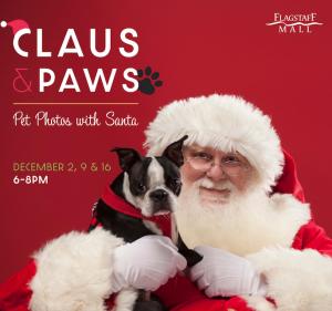 Claus and Paws Pet Photos with Santa