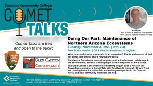 """CCC Comet Talk """"Doing Our Part: Maintenance of Northern Arizona Ecosystems"""""""
