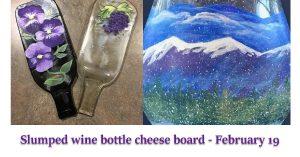 Slumped Wine Bottle Cheese Board Craft Night