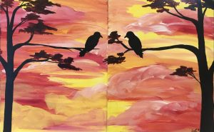 Double Canvas Night at Creative Spirits - Birds in the Sunset