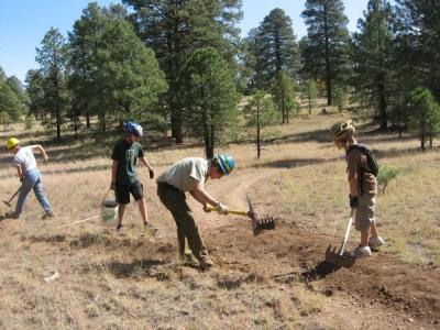 Flagstaff Loop Trail construction, Segments 26-28, near 301D Road/Campbell Mesa