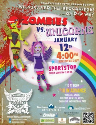 Roller Derby bout:  Zombies vs Unicorns